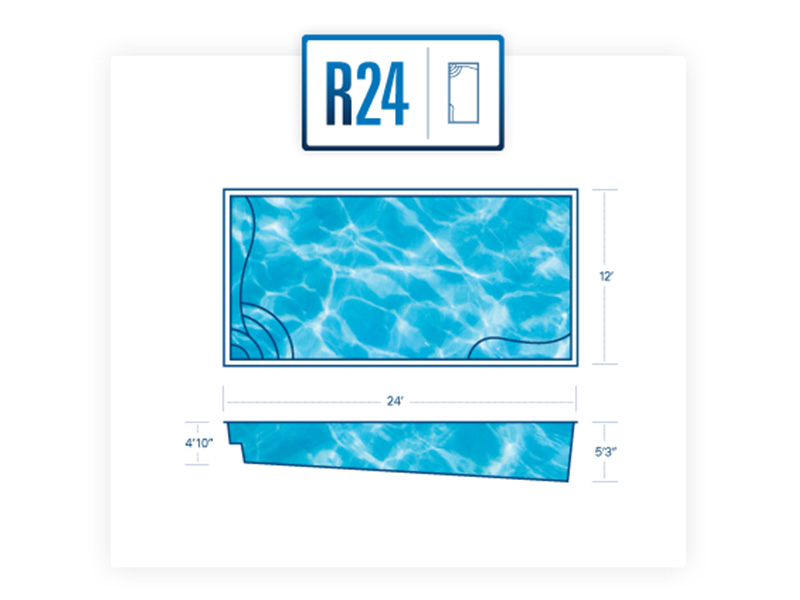 R24 Rectangle fiberglass pool - River Pools